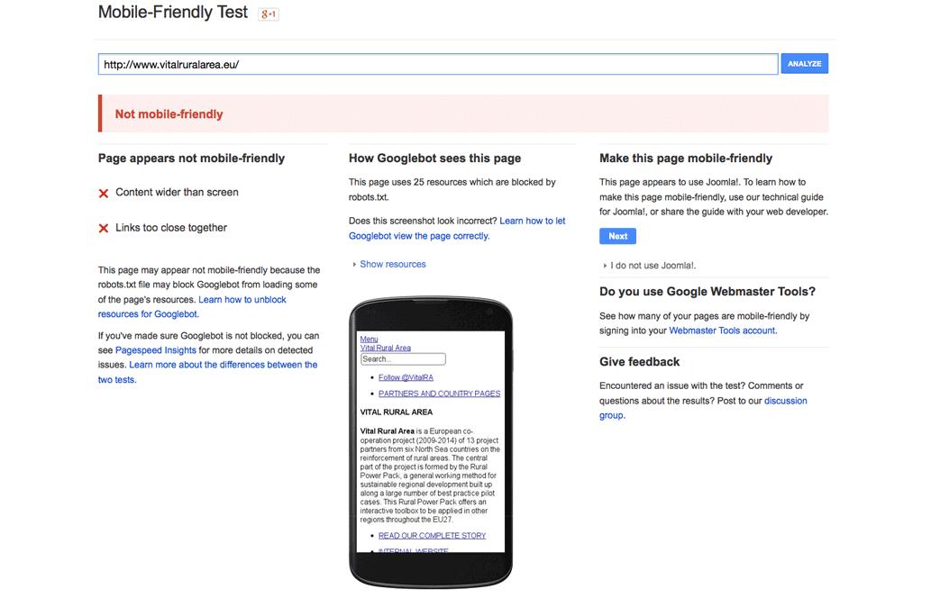 Google Mobielvriendelijkheidstest
