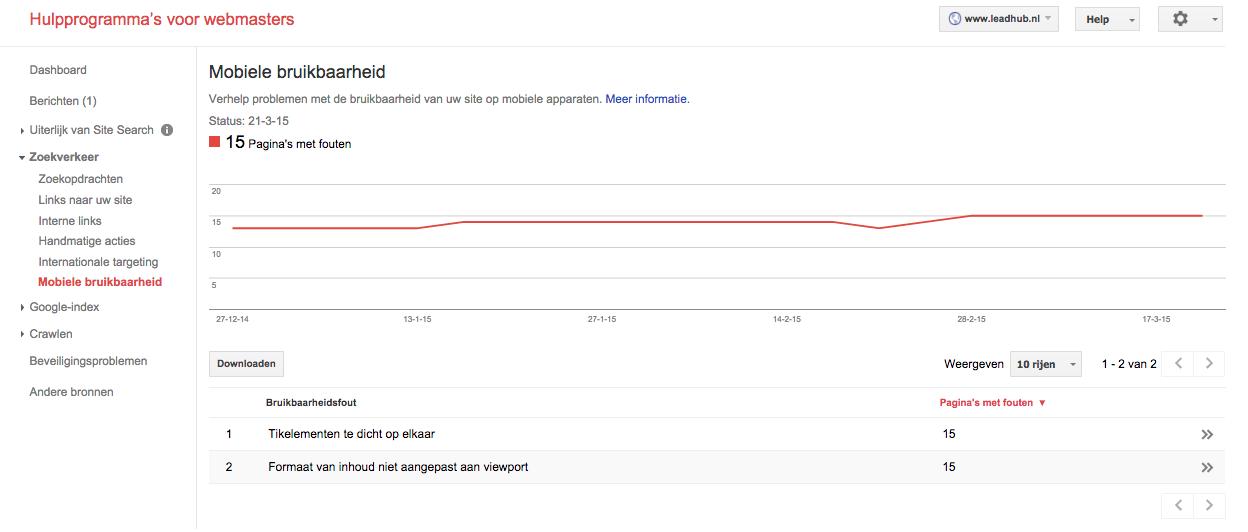 Google Webmaster Tools mobiele bruikbaarheid
